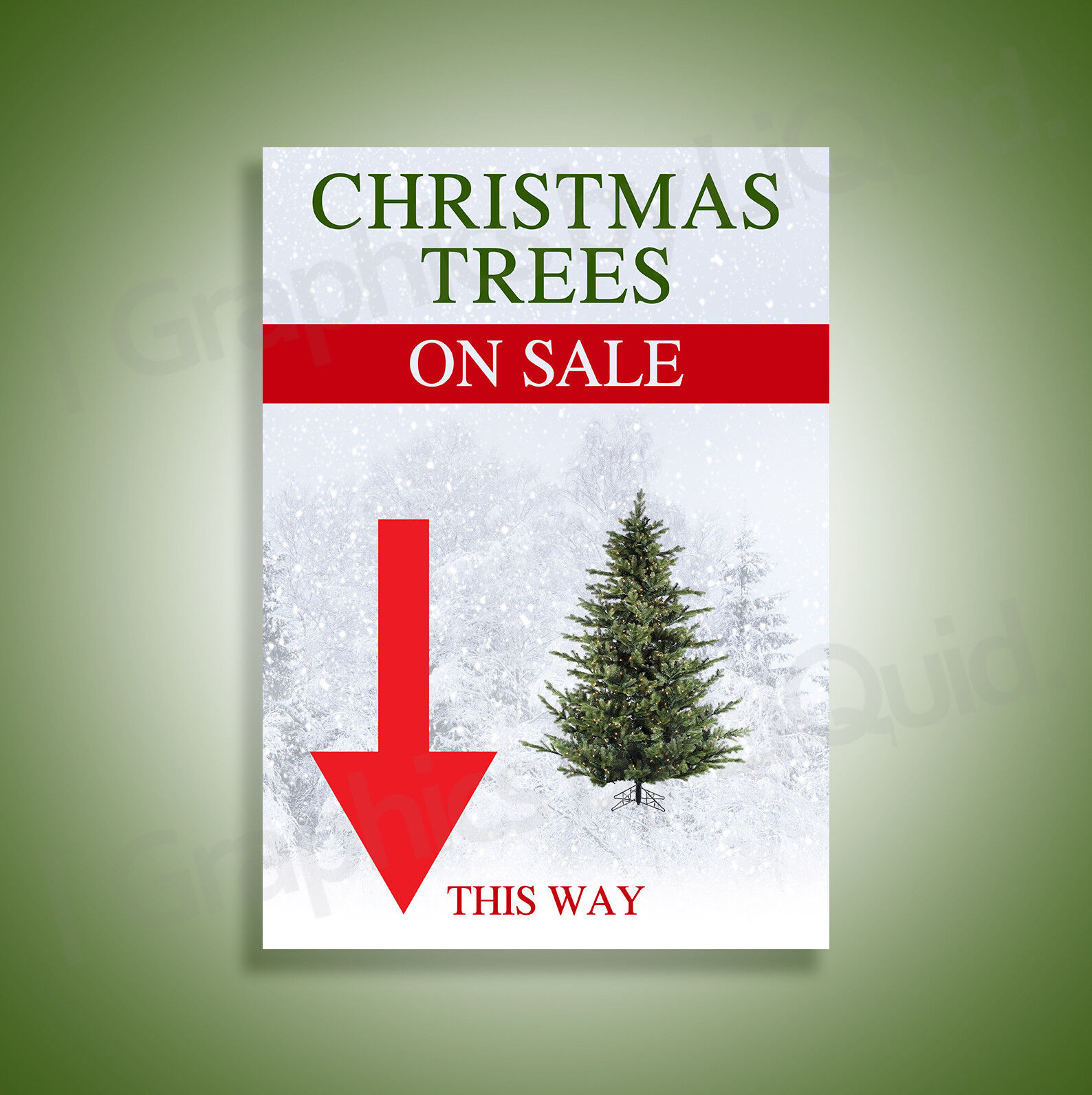 Christmas Xmas Trees w Arrow FOR SALE HERE Left Right Straight Signs A3 A2 A1