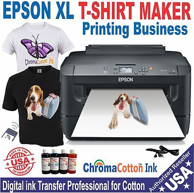 EPSON PRINTER XL13X17 + COMPLETE START  PACK COTTON INK PRINT T-SHIRT MAKER  .