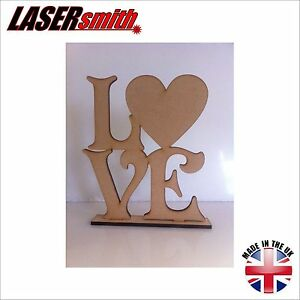 Freestanding laser cut mdf words letters love sign for Furniture 5 letters word whizzle