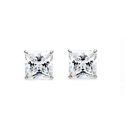 2CT Princess Cut Created Diamond Earrings Studs 14K White Gold Square Solitaire