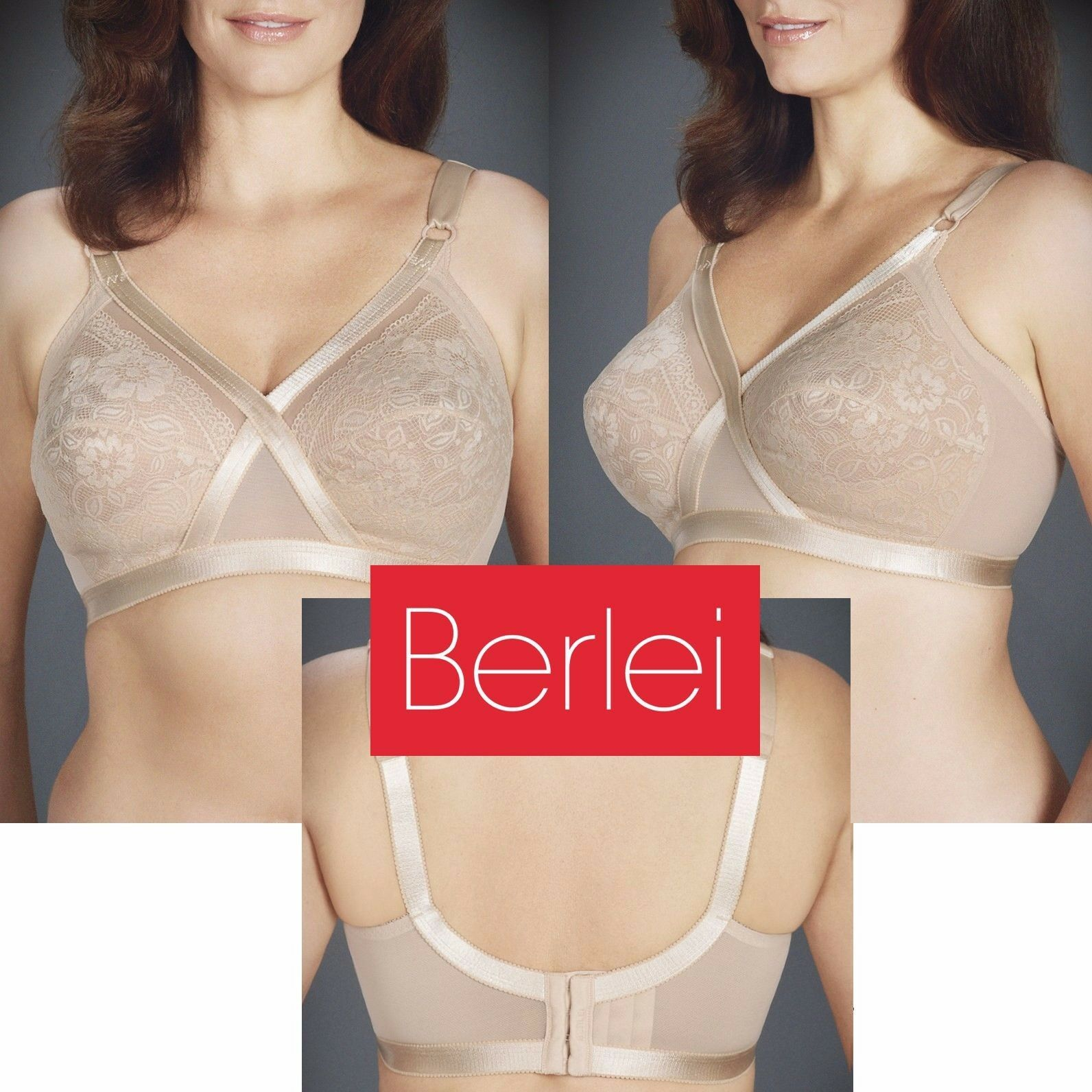 ed209f4451 Details about BERLEI Classic Lace WIRE FREE Curves Nude Praline Plus Bra 12  14 18 22 24 D DD
