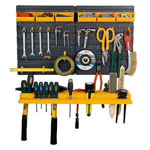 Garage-Tool-Rack-Wall-Kit-Mini-Storage-Tools-Organizer-Home-19-Hooks-6-Bins