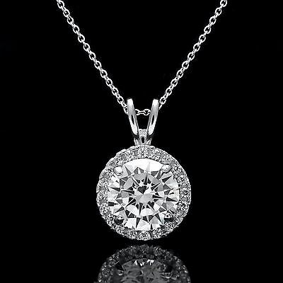 """2TCW Halo Created Diamond Pendant 18"""" 14k White Gold Cable Chain Necklace Set"""