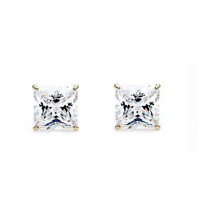 1/2 Carat Princess Cut Diamond Studs Earrings Real 14K Yellow Gold Screw back 1/2 Carat Diamond 14k