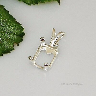 - 8x6 EMERALD Snap Tite Sterling Silver Pendant Setting OB (4 Prong)
