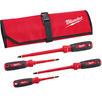 Milwaukee 48-22-2204 4pc 1000v Insulated Screwdriver Set W Roll Pouch New