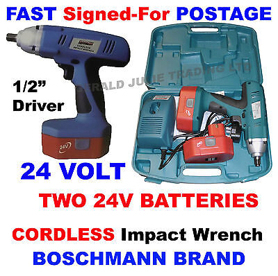 """Boschmann 24V Cordless Impact Wrench 1/2"""" Driver + 2x 24V Batteries in Blow case"""
