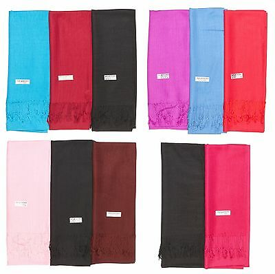 Wholesale Lot of 12 NEW Soft Silk Pashmina Cashmere Shawl Scarf Stole Wrap Women