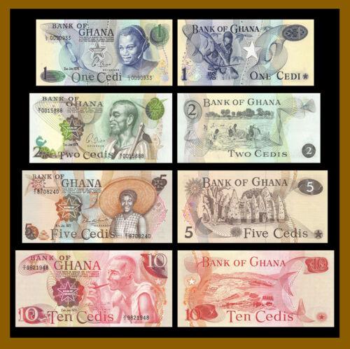 Ghana 1 2 5 10 Cedis (4 Pcs Set), 1976-1978 P-13c/14c/15b/16f (1,2 Low S/N) Unc