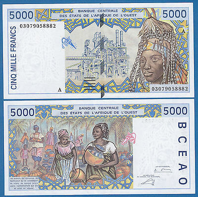 West African States 5000 Francs P 113Am 2003 Unc  A  Ivory Coast  Low Shipping