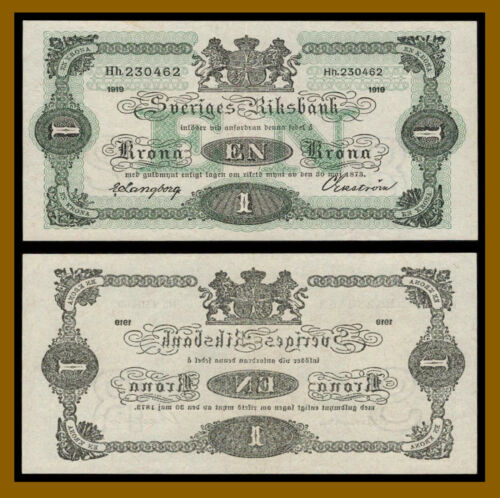 Sweden 1 Kronor, 1919 P-32f About Uncirculated (Au)