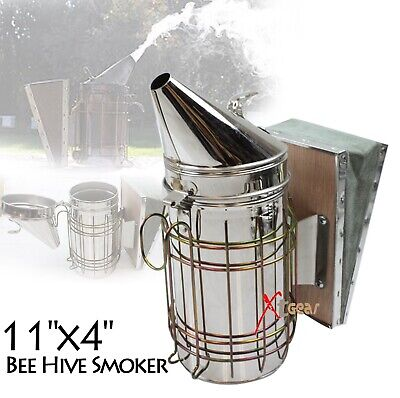 Large Bee Hive Smoker Stainless Steel Wheat Shield Beekeeping Equipment New