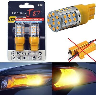 Canbus Error Free LED Light 7440 Amber Two Bulbs Rear Turn Signal Replace Lamp ()