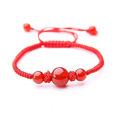 Feng Shui handmade Red String with agate beads bracelet amulet for good luck