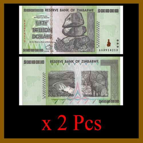 Zimbabwe 50 Trillion Dollars x 2 Pcs, 2008 AA = 100 TRILLION Unc