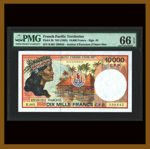 French Pacific Territories 10000 (10,000) Francs, 1985 P-4b PMG 66 EPQ Unc /LA
