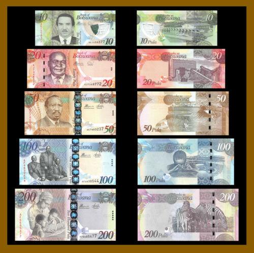 Botswana 10 20 50 100 200 Pula (5 Pcs Set), 2012-2018 P-New Paper & Polymer Unc