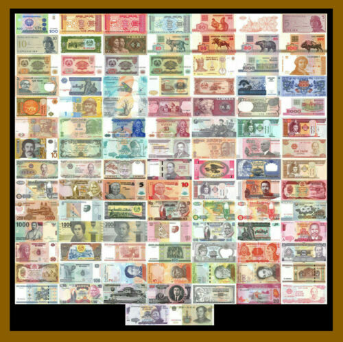100 Pcs of Different World Mix Mixed Foreign Banknotes Currency Lot 2, Unc