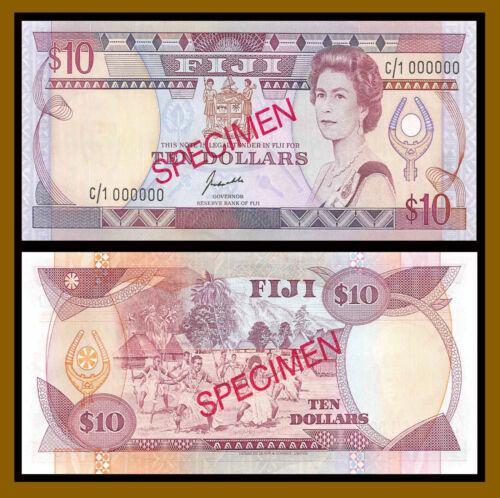 Fiji 10 Dollars, 1989 P-92s2 Sig Kubuabola Specimen Banknote (Au)