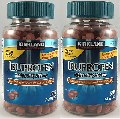 2 x Kirkland IBUPROFEN (500 TABLETS) 200mg Pain Reliever for sale  Walnut