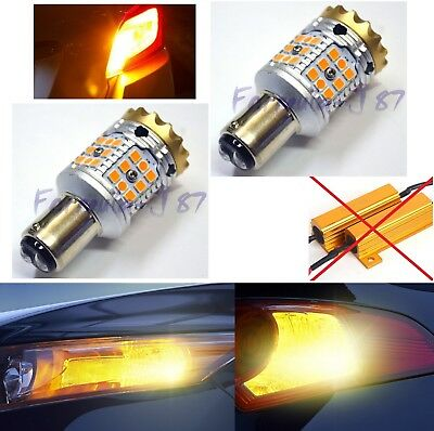 Hyper Flash Free LED Light 1157 Amber Orange Two Bulbs Front Turn Signal Upgrade