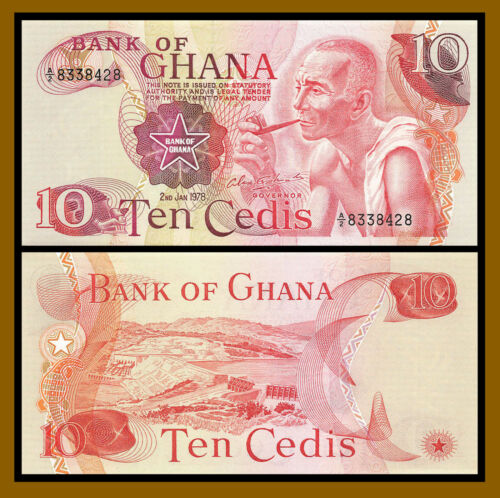 Ghana 10 Cedis, 1978 P-16f Prefix A Unc