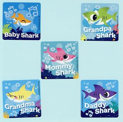 10 Baby Shark Large Stickers - Party Favors - Rewards](Shark Craft)