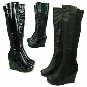 CALF-STRETCH-WOMANS-WIDE-LADIES-KNEE-HIGH-WEDGE-HEEL-PLATFORM-BLACK-BIKER-BOOTS