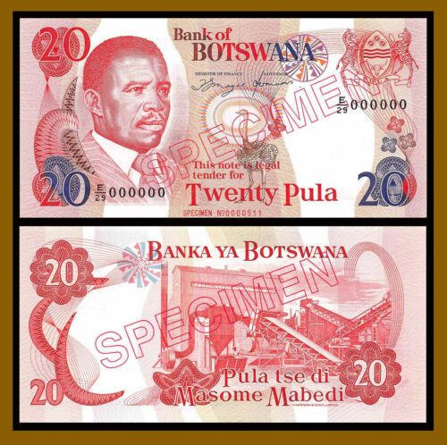 Botswana 20 Pula, 1993 P-13s Specimen S/N 511 Prefix E/29 Unc