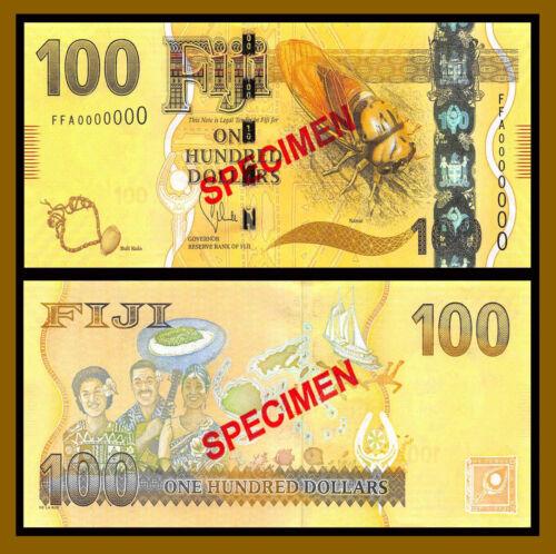 Fiji 100 Dollars, 2013 P-119s Specimen Nanai Buli Kula Unc