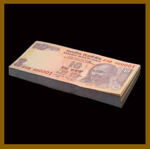 India 10 Rupees x 100 Pcs Bundle (Fancy S/N 000001-100), 2016 P-102 Letter L Unc
