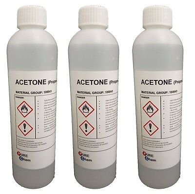3 X 250ml Botellas Acetona Pura - Uña Acrílicas Quitaesmalte de Uñas 99.8%