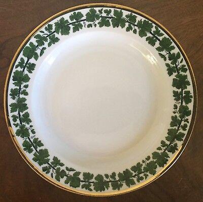 Antique German Meissen Porcelain Dinner Plate Green Napoleon Ivy Gold Gilt Rim
