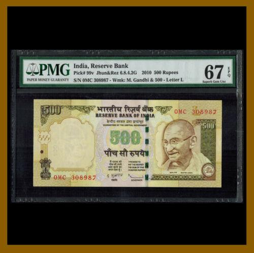 """India 500 Rupees, 2010 P-99v Letter """"L"""" PMG 67 EPQ Unc"""