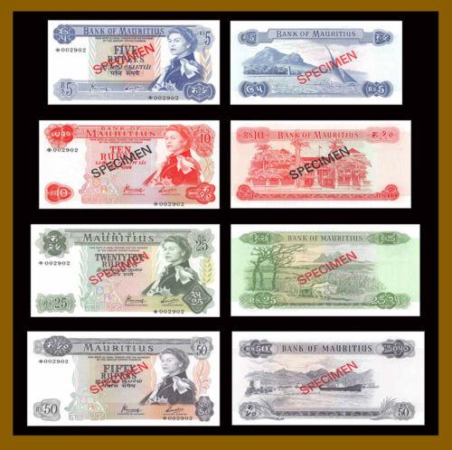 Mauritius 5-50 Rupees (4 Pcs Set), 1978 P-30-33 CS1 Specimen S/N *002902 Unc