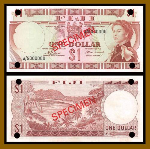 Fiji 1 Dollar, 1974 P-71s2 Sig Earland QE II Specimen Crease (Au/Unc)