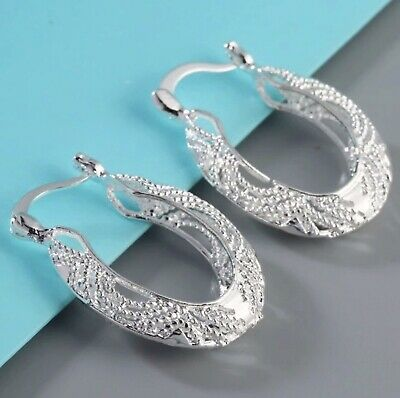 Womens 925 Sterling Silver Filigree Stamped 925 Round Oval Unique Hoop Earrings