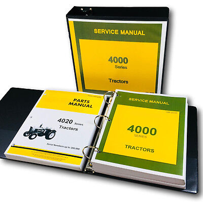 Service Manual For John Deere 4020 4000 Tractor Technical Parts Catalog Binder