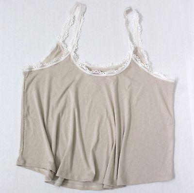Modal Lace Trim Cami (Victoria's Secret Ribbed Knit Cami Sleep Lace Trim Size L Oatmeal)