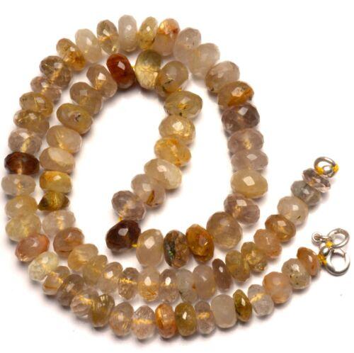 "Natural Gem Super Quality Golden Rutile Quartz 8-9MM Rondelle Beads Necklace 17"""