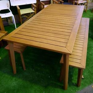 New Outdoor Furniture Capri Dining Table Timber Bench Seat Set Melbourne CBD Melbourne City Preview