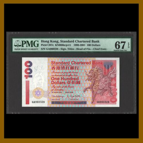 Hong Kong 100 Dollars, 1998 2001 P-287c PMG 67 EPQ Uncirculated / LA