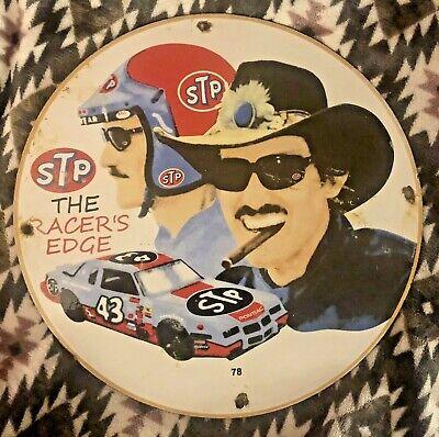 """VINTAGE PORCELAIN STP RICHARD PETTY GAS AND OIL PUMP PLATE RACE CAR 11.75"""""""