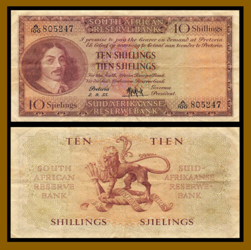 South Africa 10 Shillings, 1955 P-91d Circulated (Cir)