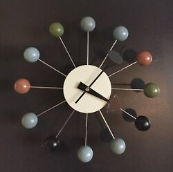 Mid Century Modern George Nelson Style Wooden Ball Starburst Wall Clock New