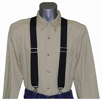Heavy Duty Black Nylon Suspenders Scissor Trigger Snaps USA MADE