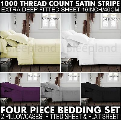 Luxury 100% Egyptian Cotton Fitted Sheets & Flat Sheets 1000TC Double King 4pcs 1000tc Egyptian Cotton Bed Sheets