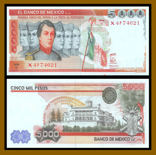 Mexico 5000 (5,000) Pesos, 1980 P-71 Serie U With S.A Uncirculated Unc