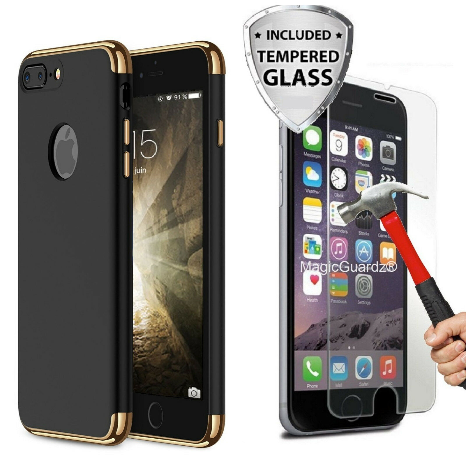 Protective Hard Thin Case Cover + Tempered Glass For Apple iPhone 6 6s 7 8 Plus