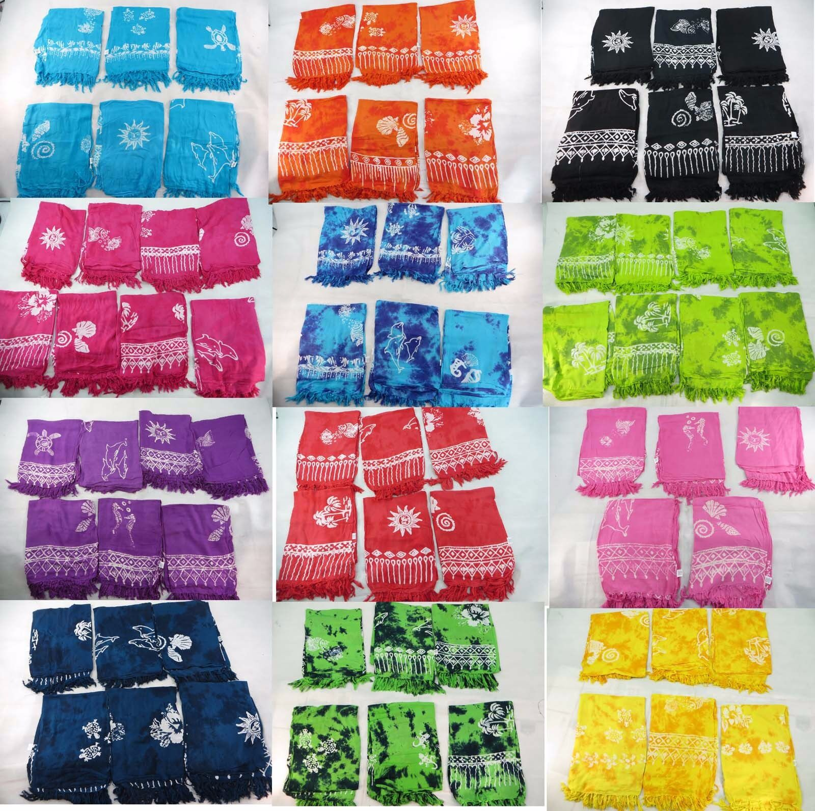 Lot of 10 wholesale rayon pareos sarong hand-stampped...